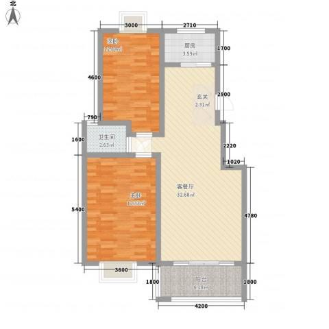 众亿名门2室1厅1卫1厨75.24㎡户型图