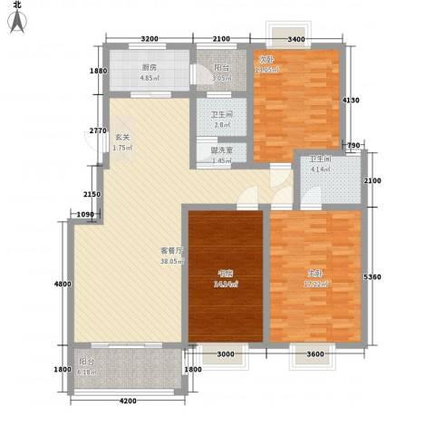 众亿名门3室2厅2卫1厨2128.00㎡户型图