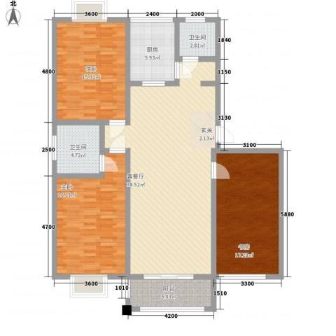众亿名门3室1厅2卫1厨1126.00㎡户型图
