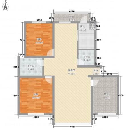 天成雅典2室1厅2卫1厨144.00㎡户型图