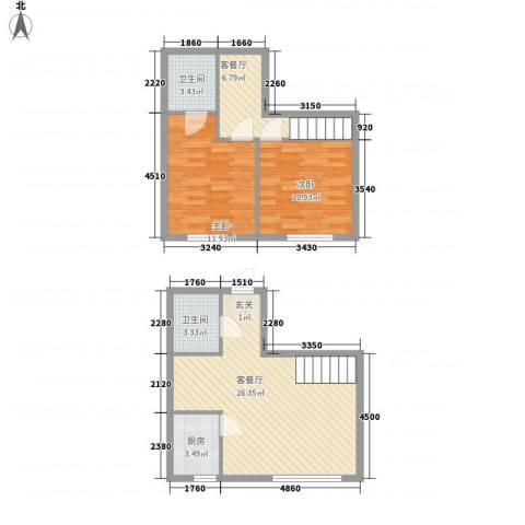 地旺国际2室2厅2卫1厨66.23㎡户型图
