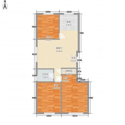 地旺国际3室1厅1卫0厨77.09㎡户型图