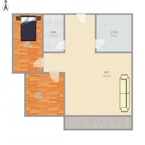 铭和苑2室1厅1卫1厨111.00㎡户型图