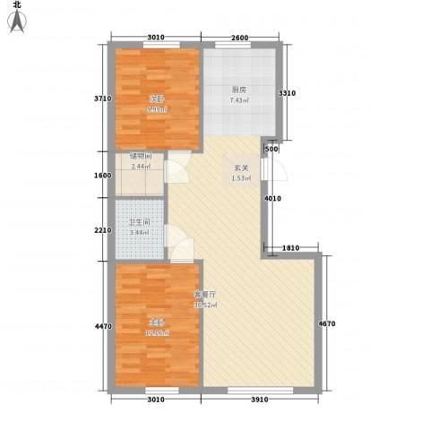 地旺国际2室1厅1卫0厨64.54㎡户型图