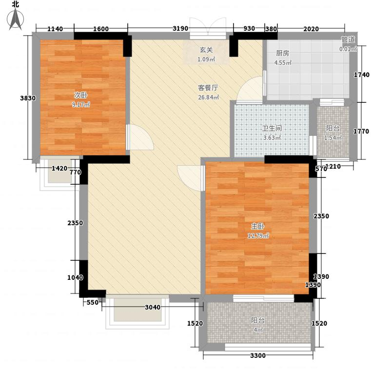 常绿・大阅城12288.82㎡D户型2室2厅1卫1厨