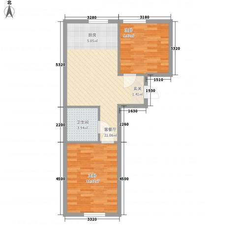 地旺国际2室1厅1卫0厨68.00㎡户型图