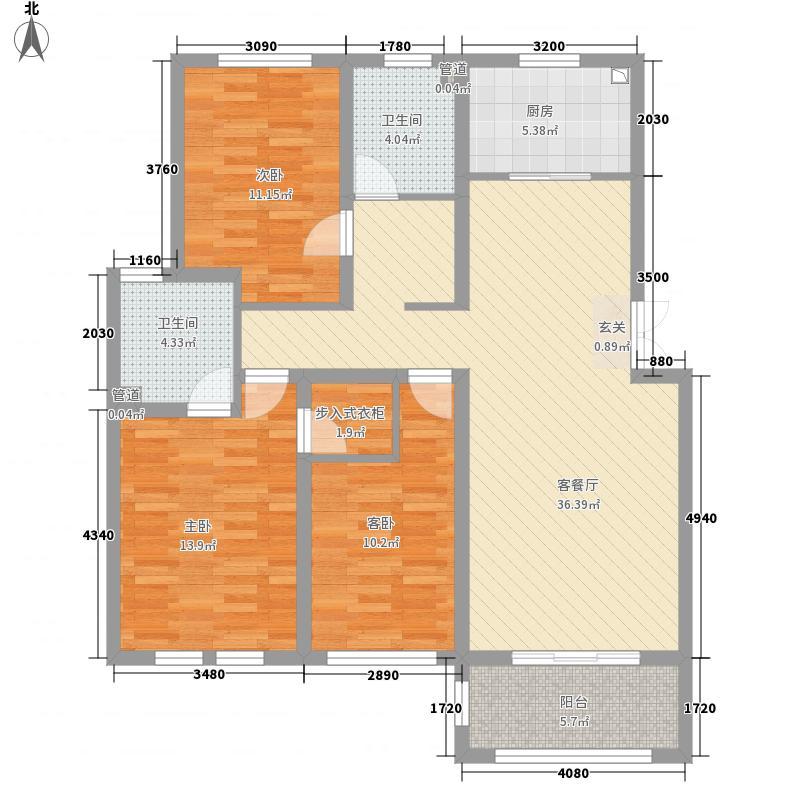 白金湾1134.12㎡御珑苑D1户型3室2厅2卫