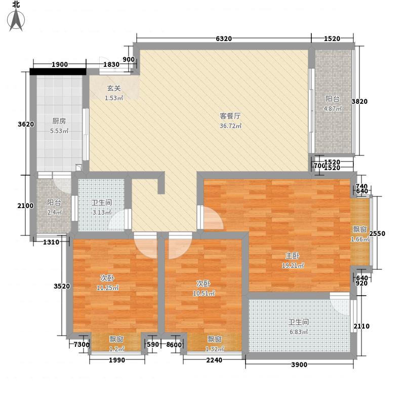祥和名邸12.00㎡1号3号楼B户型3室2厅2卫