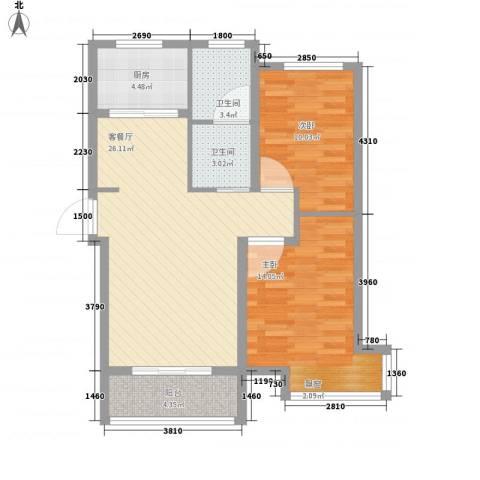 中房・金沙滩澜湾2室1厅2卫1厨94.00㎡户型图
