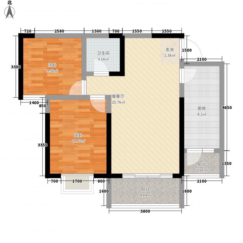 曼哈顿商业广场6.68㎡B户型2室2厅1卫1厨