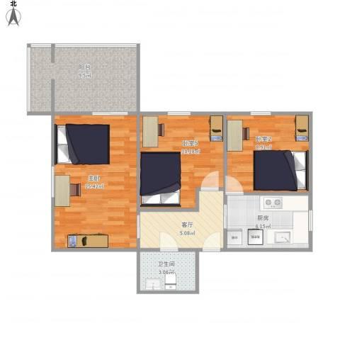 红庙北里14号楼3191室1厅1卫1厨79.00㎡户型图