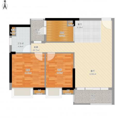 广州新塘新世界花园2室1厅1卫1厨101.00㎡户型图