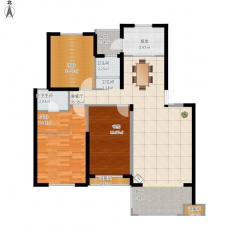 澳海澜庭3室1厅1卫1厨144.00㎡户型图
