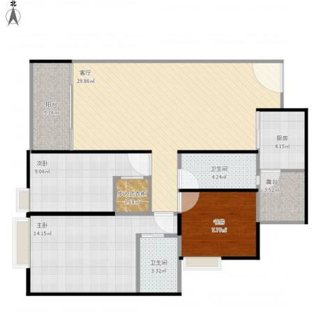 城市绿洲3室1厅2卫1厨113.00㎡户型图