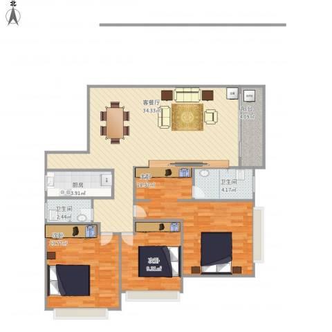 振兴大厦3室1厅2卫1厨122.00㎡户型图