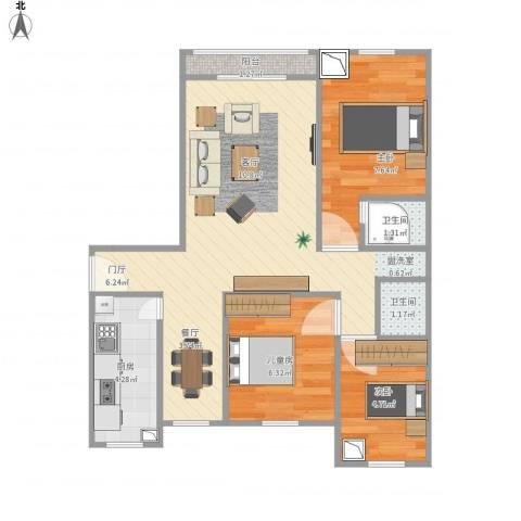 滨河花园3室1厅2卫1厨68.00㎡户型图