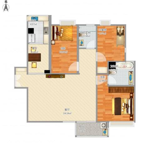康桥半岛城中花园3室2厅2卫1厨123.00㎡户型图