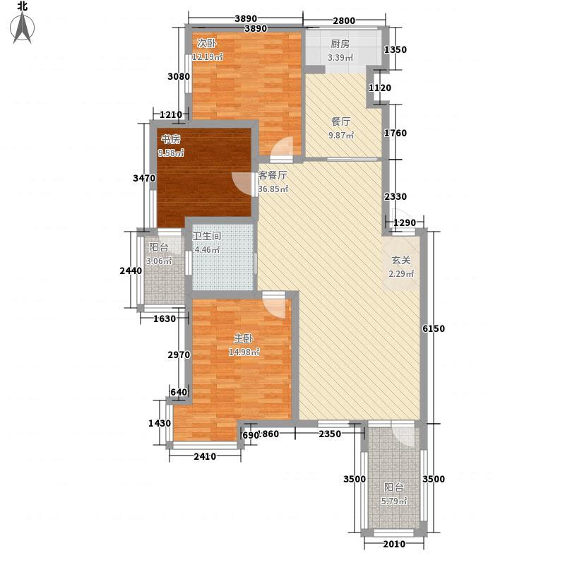 宏运凤凰新城一期117.63㎡11763户型3室2厅1卫1厨