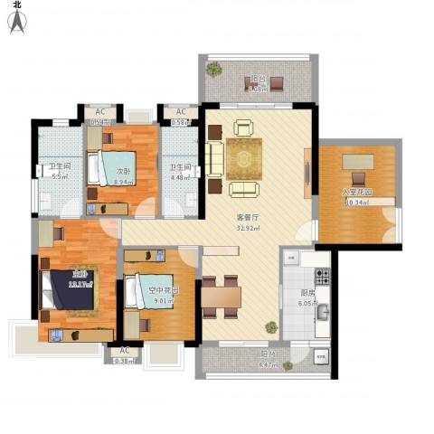 明景・江南世家2室1厅2卫1厨147.00㎡户型图