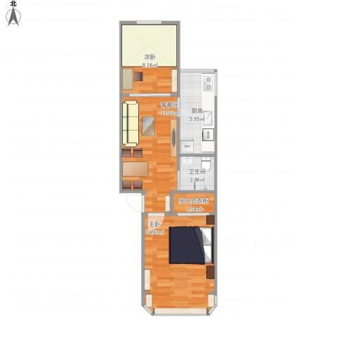 静安东里18号楼2室1厅1卫1厨61.00㎡户型图