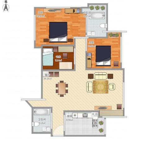 湖畔天下3室1厅2卫1厨127.00㎡户型图