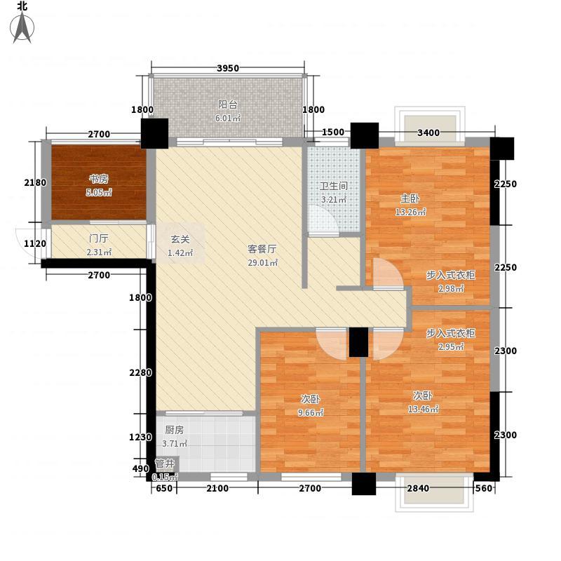 绿城玫瑰园111.14㎡B2#楼D2户型3室2厅1卫1厨