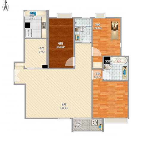 康桥半岛城中花园3室2厅2卫1厨143.00㎡户型图