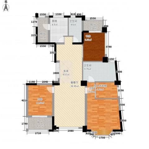 浦江公馆3室1厅2卫1厨163.00㎡户型图