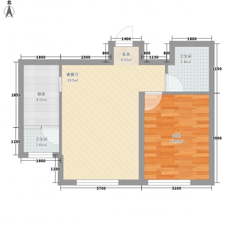 书香府第61.20㎡E1户型1室2厅1卫