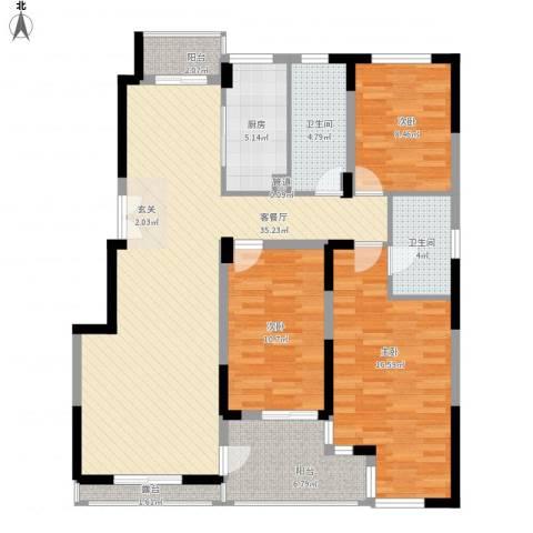 南山巴黎印象3室1厅2卫1厨137.00㎡户型图