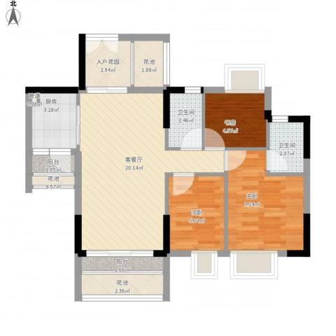 东海国际花园3室1厅2卫1厨86.00㎡户型图
