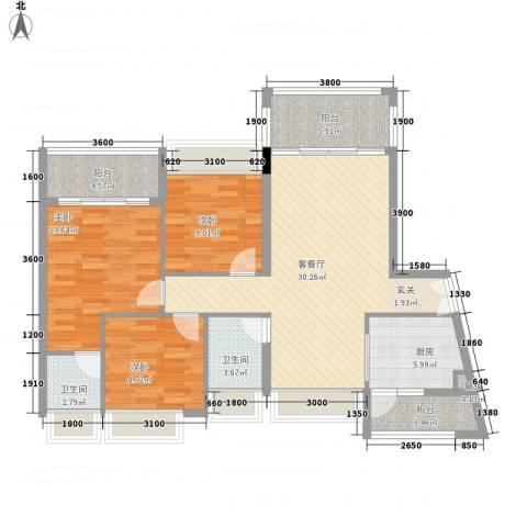 佳兆业御府3室1厅2卫1厨118.00㎡户型图