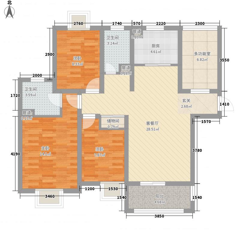 城投・御园122.00㎡3#四至十四层0A2户型3室2厅2卫1厨