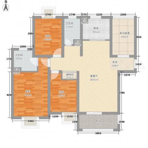 城投・御园3室1厅2卫1厨122.00㎡户型图