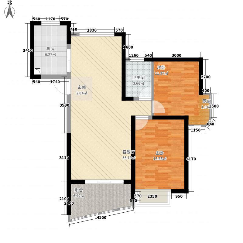 雅居乐维也纳森林12.38㎡20、21、22、23#楼B2-2户型2室2厅1卫1厨