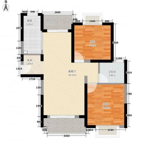 百祥苑2室1厅1卫1厨95.00㎡户型图