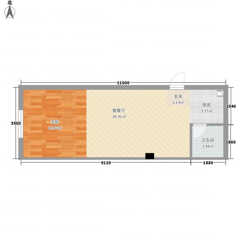 永丰SOHO5.53㎡E户型1室1厅1卫1厨