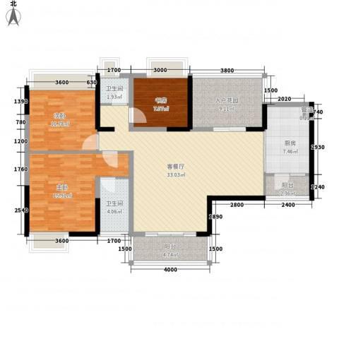 时代庭园3室1厅2卫1厨138.00㎡户型图