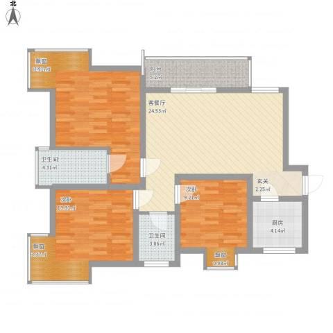 天正银河湾3室1厅2卫1厨115.00㎡户型图