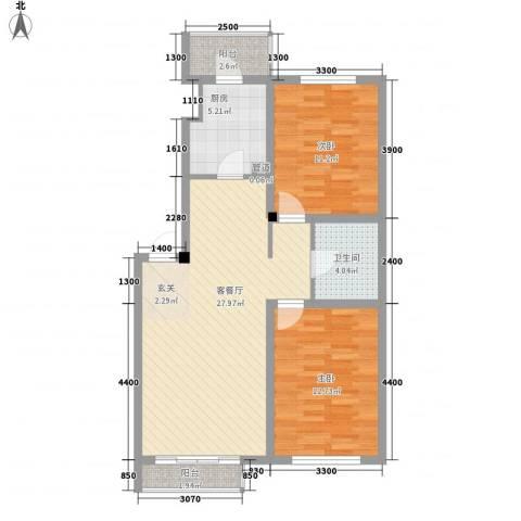 环宇金域蓝山2室1厅1卫1厨89.00㎡户型图