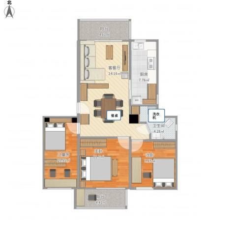 黄石花园3室1厅1卫1厨89.00㎡户型图