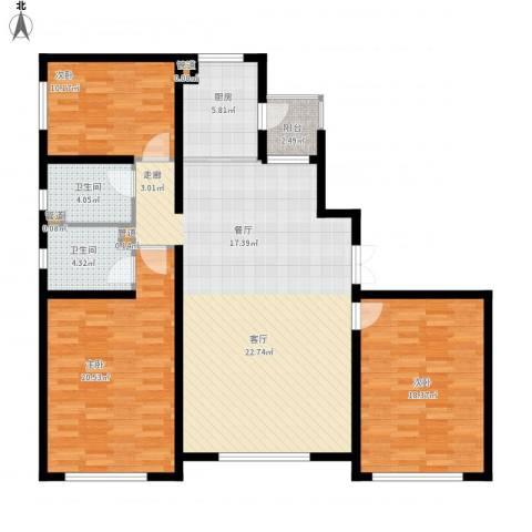青橙部落3室1厅2卫1厨153.00㎡户型图