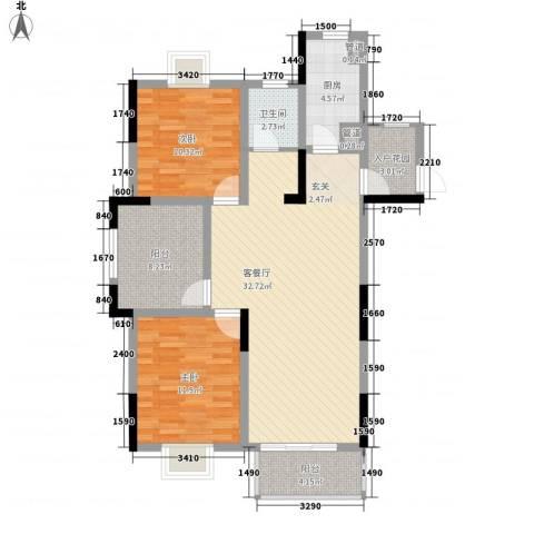 嘉宇万豪名苑2室1厅1卫1厨113.00㎡户型图