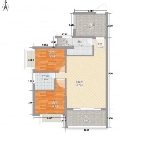 翠堤尚园2室1厅1卫1厨85.00㎡户型图