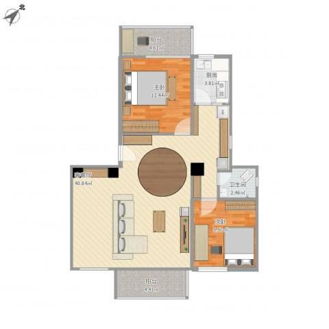 黄石花园2室1厅1卫1厨107.00㎡户型图