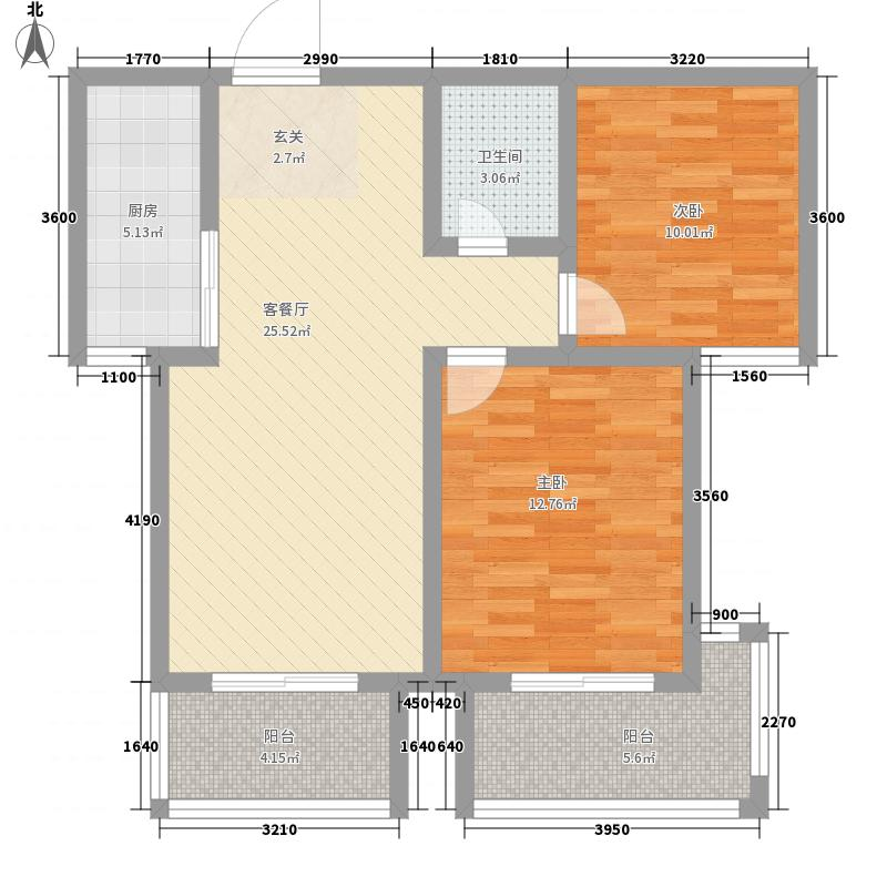泰安・民生景园6.13㎡C阳光两居户型2室2厅1卫1厨