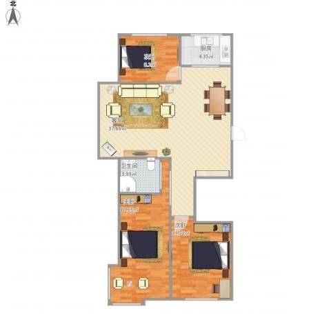 世纪阳光3室1厅1卫1厨114.00㎡户型图