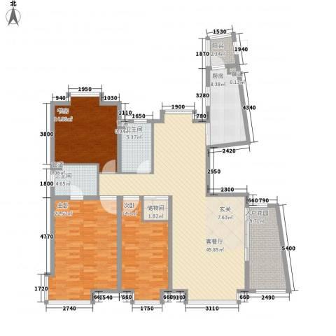 新世界花园湾景华庭3室1厅2卫1厨178.00㎡户型图