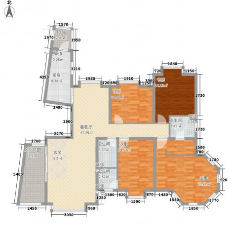 新世界花园湾景华庭4室1厅3卫1厨198.00㎡户型图