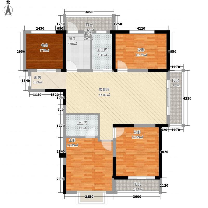 美丹佳苑小区户型图四室两厅户型图1 4室2厅1卫1厨
